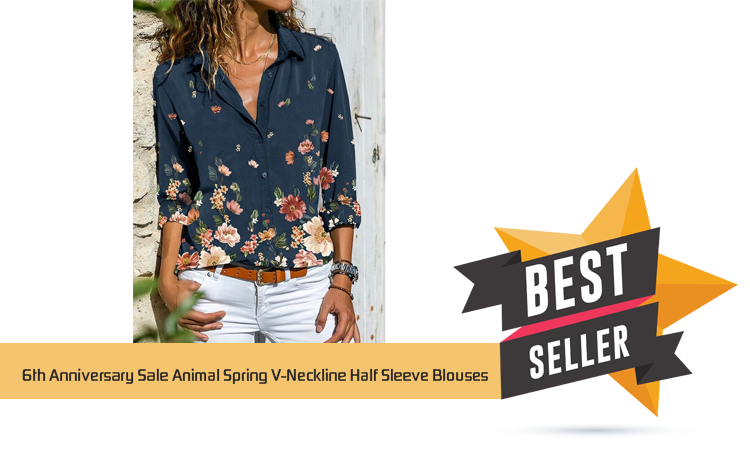 6th Anniversary Sale Animal Spring V-Neckline Half Sleeve Blouses – Shirts & Tops