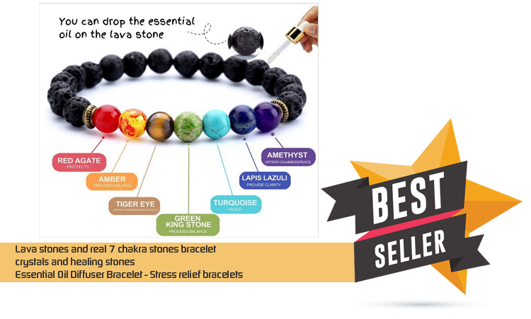 Lava stones and real 7 chakra stones bracelet – crystals and healing stones – Essential Oil Diffuser Bracelet – Stress relief bracelets – Religious & Ceremonial